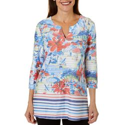 Coral Bay Womens Scenic Print Textured Tunic Top