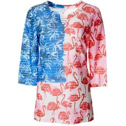 Coral Bay Womens Americana Flamingo Print Textured Tunic Top