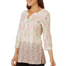 Coral Bay Womens Mixed Animal Print Split Neck Top