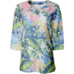 Womens Palm Leaf Print Textured Tunic Top