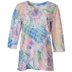 Coral Bay Womens Patchwork Floral Print Split Neck Top