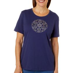 Coral Bay Womens Jewel Embellished Mandala Top