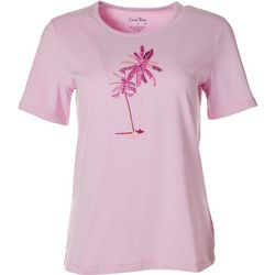 Coral Bay Womens Palm Tree Embroidered Top