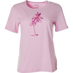 Womens Palm Tree Embroidered Top