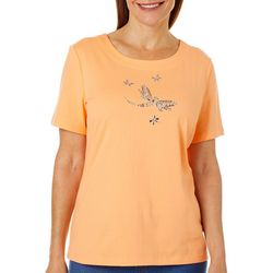 Womens Jewel Embellished Dragonfly Top