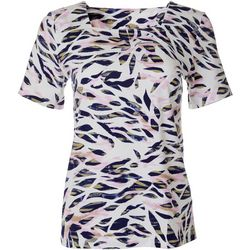 Coral Bay Womens Animal Leaf Print Square Neck Top