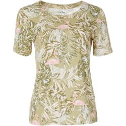 Coral Bay Womens Palm Leaf Flamingo Top