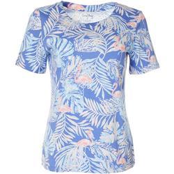 Womens Palm Leaf Flamingo Top