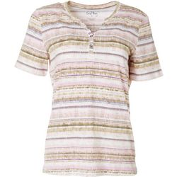 Coral Bay Womens Stitched Stripe Short Sleeve Top