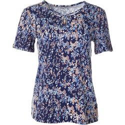 Womens Printed Keyhole Short Sleeve Top