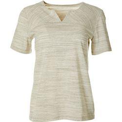 Coral Bay Womens Short Sleeve Split Neck Top