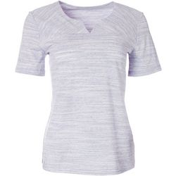 Coral Bay Womens Short Sleeve Split Neck Top
