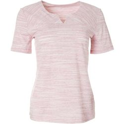 Womens Short Sleeve Split Neck Top