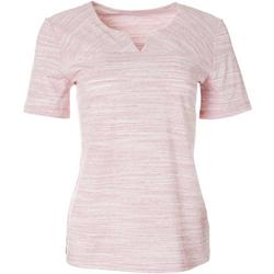 Womens Short Sleeve Split Neck Top