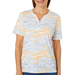 Coral Bay Womens Wavy Stripe Short Sleeve Top
