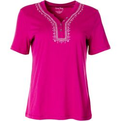 Womens Short Sleeve Solid Henley Top