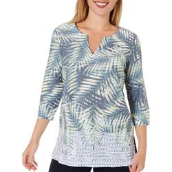 Coral Bay Womens Palm Leaf V-Neck Tunic Top