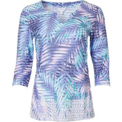Coral Bay Womens Textured Palm Leaf 3/4 Sleeve Shirt