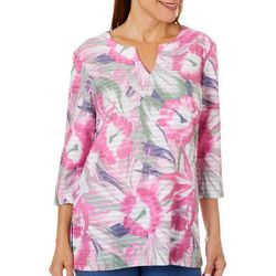 Coral Bay Womens Hibiscus Print Textured Tunic Top
