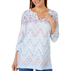 Womens Ikat Print Textured Tunic Top