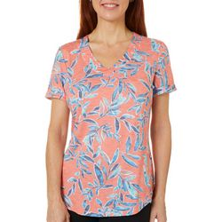 Coral Bay Womens Floral Stripe V-Neck Top