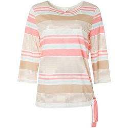 Womens Striped Side Tie Boat Neckline Top