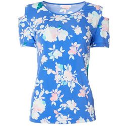 Coral Bay Womens Floral Print Cold Shoulder Round Neck Top