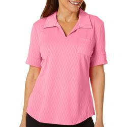 Womens Solid Textured Polo Shirt