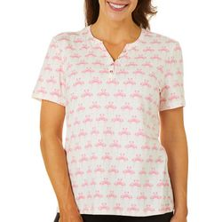 Coral Bay Womens Flamingo Hearts Top