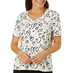 Coral Bay Womens Heart Screen Print Short Sleeve Top