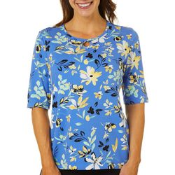 Womens Painted Flowers Keyhole Top
