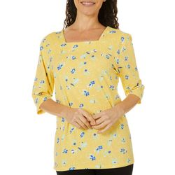 Coral Bay Womens Dotted Floral Print Square Neck Top