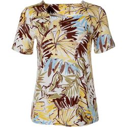 Coral Bay Womens Mixed Leaf Print Square Neck Top
