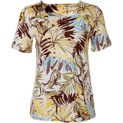 Womens Mixed Leaf Print Square Neck Top