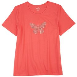Coral Bay Womens Embellished Stones Butterfly Top