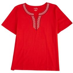 Coral Bay Womens Neck Embroidery Short Sleeve Top