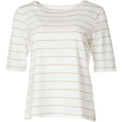 Coral Bay Womens Scalloped Stripe Short Sleeve Top