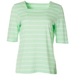 Coral Bay Womens Square Neck Striped Mid Sleeve Top