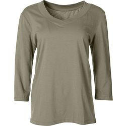 Coral Bay Womens Solid V-Neck Long Sleeve Top