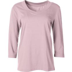 Womens Solid V-Neck Long Sleeve Top
