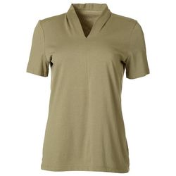 Coral Bay Womens Solid V-Neck Everyday Tee