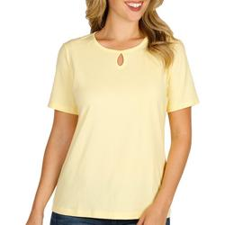 Womens Short Sleeve Solid Keyhole Top