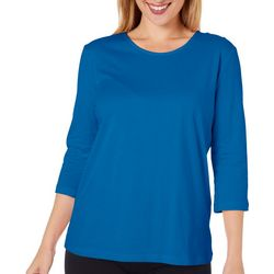 Coral Bay Womens Scoop Neck Solid Top