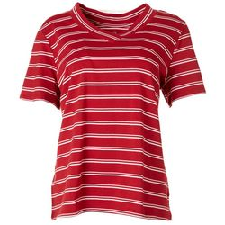 Coral Bay Womens Striped V-Neck T-Shirt