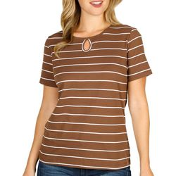 Coral Bay Womens Short Sleeve Stripe Keyhole Top