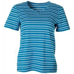Coral Bay Womens Striped Henley Short Sleeve Top