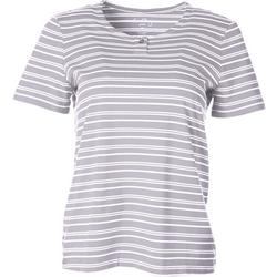 Womens Striped Henley Short Sleeve Top