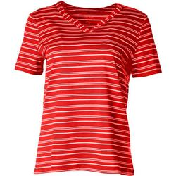 Womens Striped Split Neck Short Sleeve Top