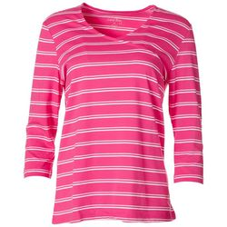Coral Bay Womens Striped V-Neck Surplice Top