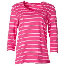 Womens Striped V-Neck Surplice Top
